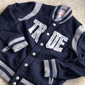 True Religion Wool Varsity Jacket XL Blue Grey